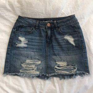 Refuge Distressed Jean Denim Skirt size Small